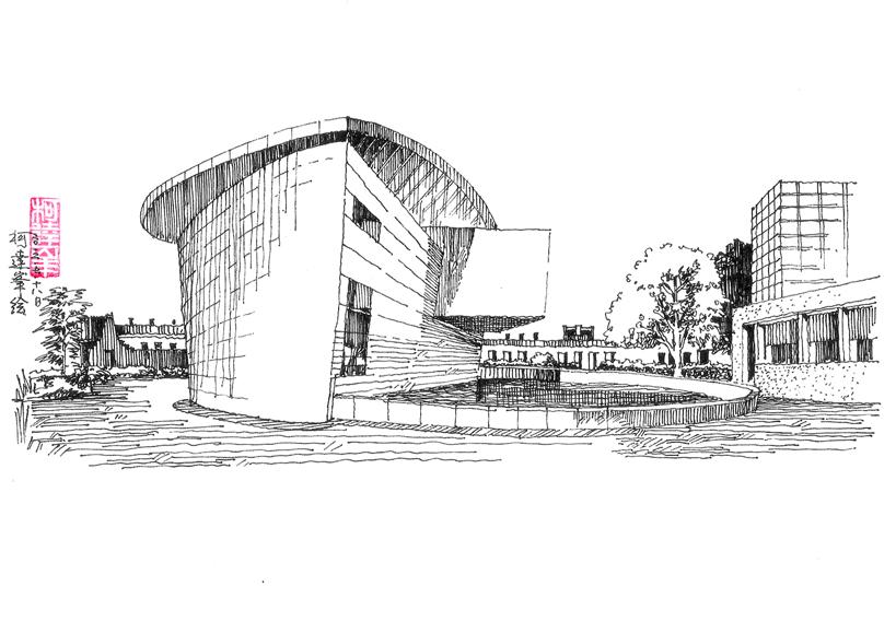 柯达峰建筑室内手绘示例